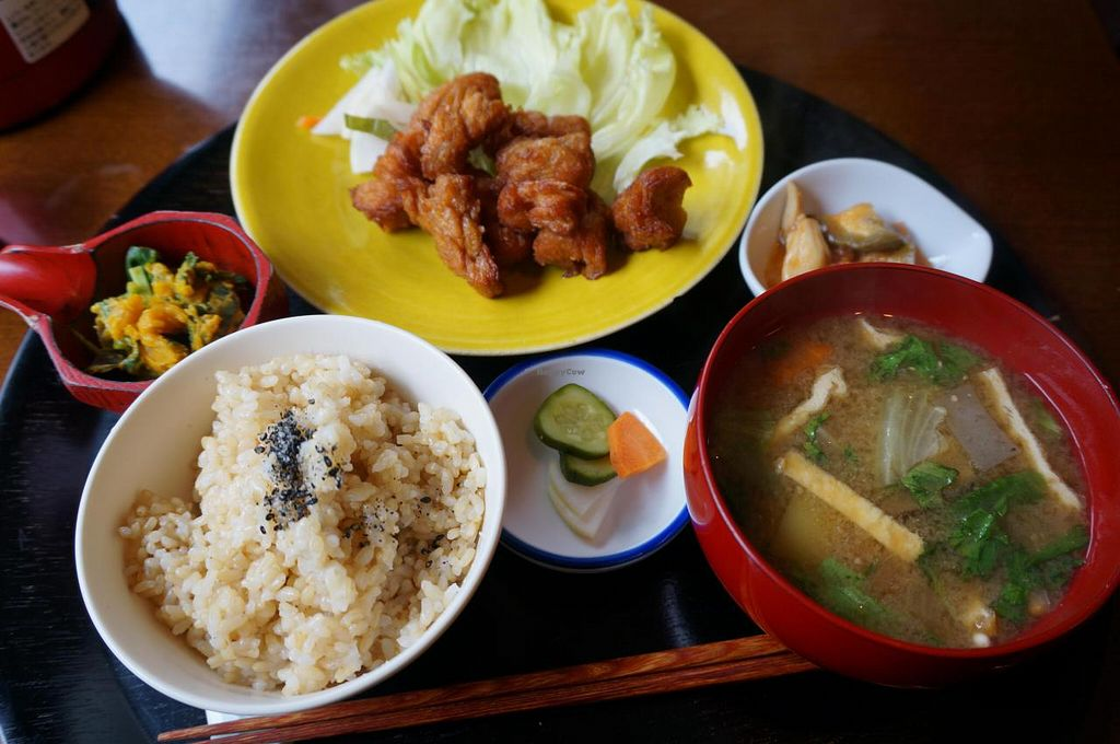 """Photo of Komenoko  by <a href=""""/members/profile/Ricardo"""">Ricardo</a> <br/>Soy meat kara-age set 1100yen.  <br/> August 10, 2014  - <a href='/contact/abuse/image/46924/76423'>Report</a>"""