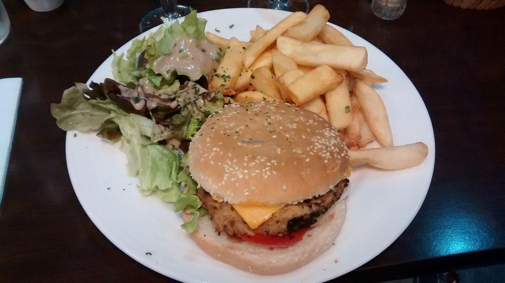 """Photo of Caprice Cafe  by <a href=""""/members/profile/JonJon"""">JonJon</a> <br/>Vegan burger with chick peas' steak <br/> June 15, 2015  - <a href='/contact/abuse/image/46932/106010'>Report</a>"""