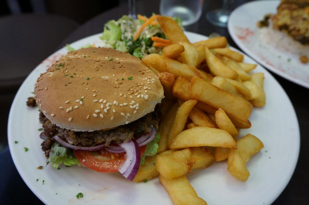 """Photo of Caprice Cafe  by <a href=""""/members/profile/Ricardo"""">Ricardo</a> <br/>Caprice Burger with French Fries <br/> June 27, 2015  - <a href='/contact/abuse/image/46932/107468'>Report</a>"""