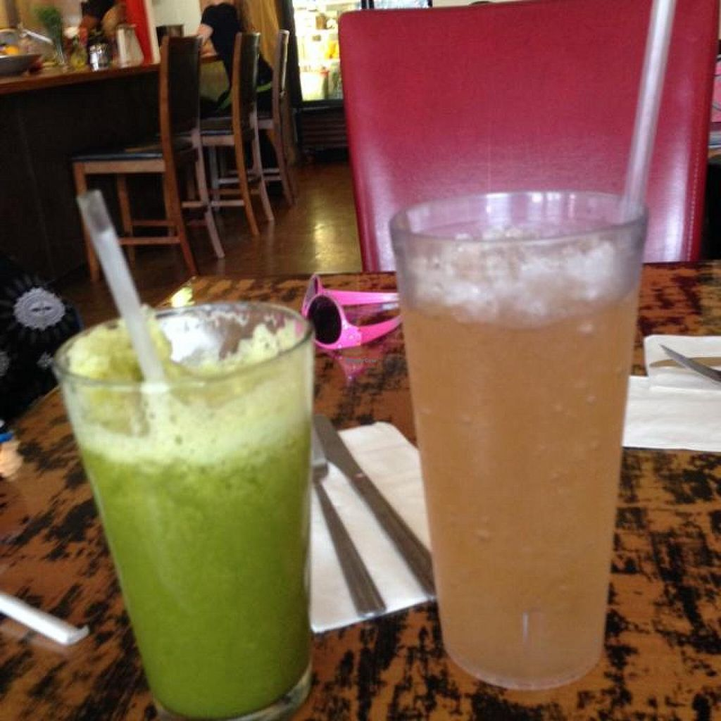 "Photo of Outer Bean Juice and Java  by <a href=""/members/profile/Blessings621"">Blessings621</a> <br/>going green smoothie, Apple ginger iced tea <br/> July 19, 2014  - <a href='/contact/abuse/image/46963/74440'>Report</a>"