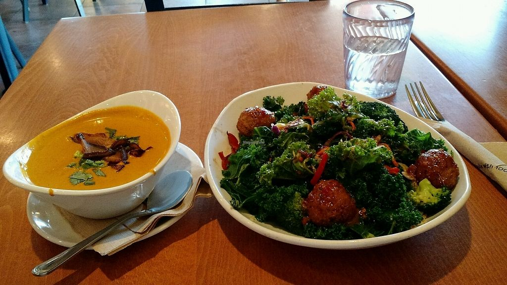 """Photo of Native Foods - Point Loma  by <a href=""""/members/profile/Ken%20Liao"""">Ken Liao</a> <br/>thai curry soup and kale meatball quinoa <br/> April 16, 2018  - <a href='/contact/abuse/image/46998/386607'>Report</a>"""