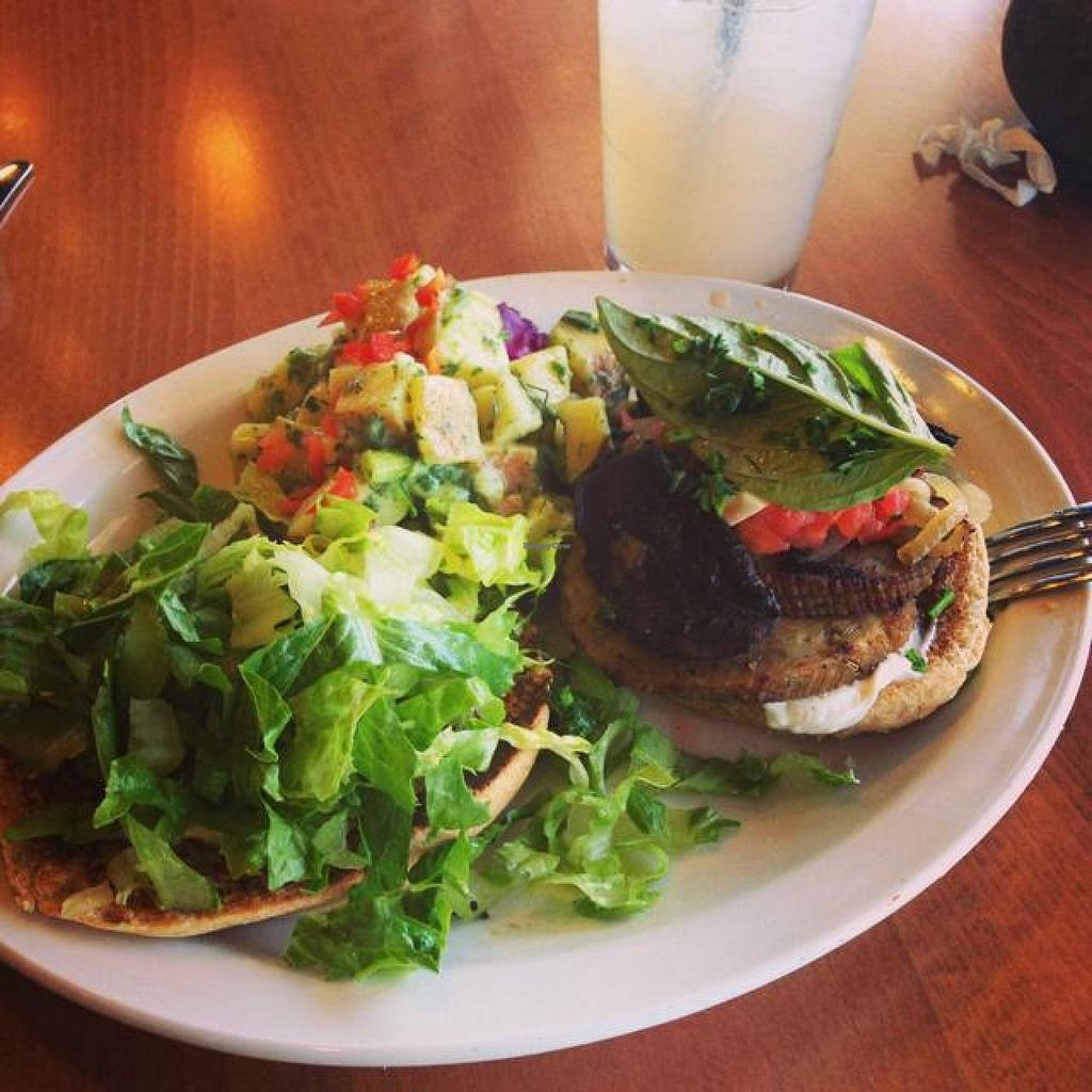 """Photo of Native Foods - Point Loma  by <a href=""""/members/profile/Silent8176"""">Silent8176</a> <br/>Portobello and Sausage Burger with a side of potato salad and lavender lemonade to wash it down! <br/> June 6, 2014  - <a href='/contact/abuse/image/46998/71519'>Report</a>"""