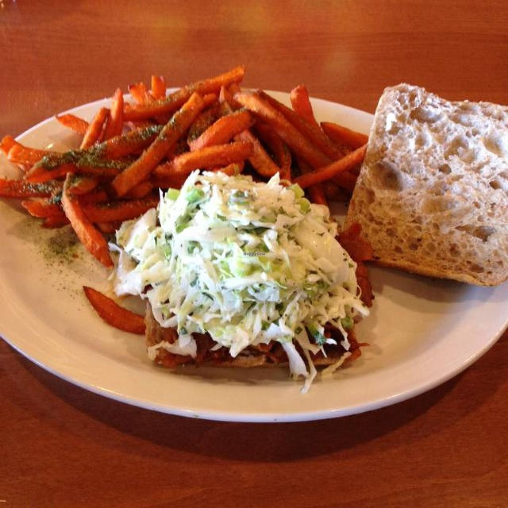 """Photo of Native Foods - Point Loma  by <a href=""""/members/profile/Silent8176"""">Silent8176</a> <br/>BBQ Brisket Ciabatta! the sandwich absolutely delicious! very messy; juices drippin everywhere! cole slaw was piled on high had to eat some with a fork so that I could eat the sandwich! cole slaw should be added to the sides menu! <br/> June 25, 2014  - <a href='/contact/abuse/image/46998/72755'>Report</a>"""