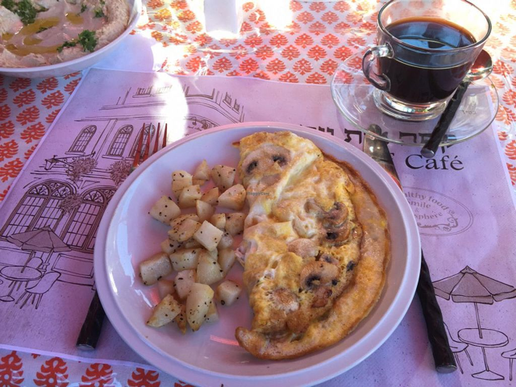 """Photo of Beit Yosef Cafe  by <a href=""""/members/profile/RMA20904"""">RMA20904</a> <br/>mushroom omelette  <br/> June 17, 2015  - <a href='/contact/abuse/image/47113/106362'>Report</a>"""