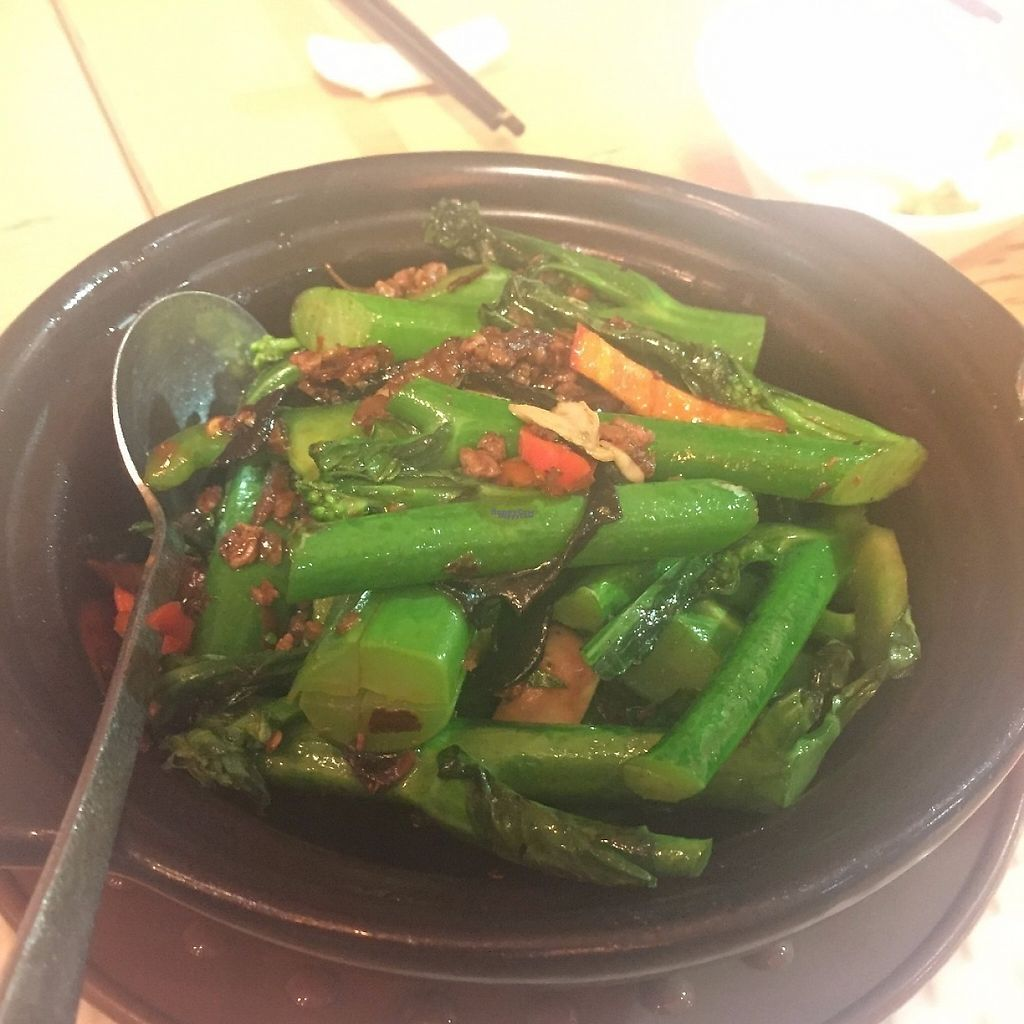 """Photo of Paramita Vegetarian Restaurant - Cheung Yee  by <a href=""""/members/profile/SamanthaIngridHo"""">SamanthaIngridHo</a> <br/>Spicy Gai Lan Pot <br/> March 4, 2017  - <a href='/contact/abuse/image/47168/232543'>Report</a>"""