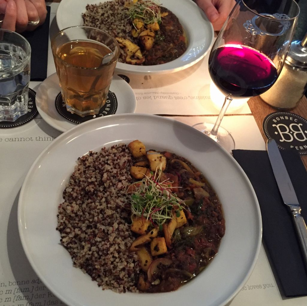 """Photo of Bonbec  by <a href=""""/members/profile/PtrCrt"""">PtrCrt</a> <br/>Lentils, quinoa, deep fried tofu, shiitake mushrooms and vegetables <br/> January 24, 2016  - <a href='/contact/abuse/image/47177/133469'>Report</a>"""