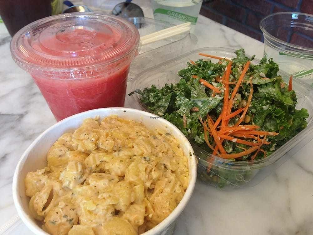 "Photo of Blue Tree Cafe  by <a href=""/members/profile/StarletShay"">StarletShay</a> <br/>Vegan Mac and Cheese. Kale Salad. Watermelon Blend <br/> April 17, 2018  - <a href='/contact/abuse/image/47189/387334'>Report</a>"