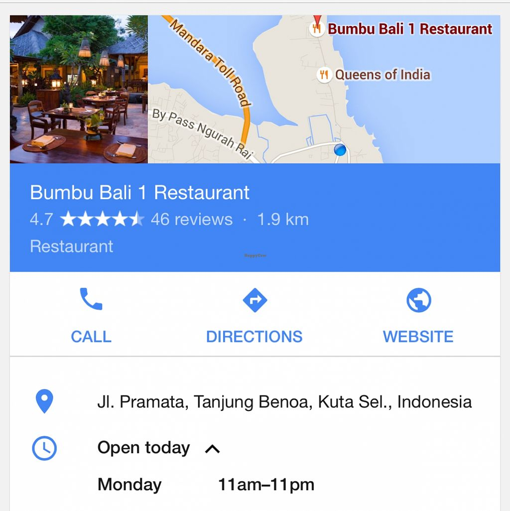 "Photo of Bumbu Bali 1  by <a href=""/members/profile/happycandy"">happycandy</a> <br/>this is the actual address <br/> May 1, 2016  - <a href='/contact/abuse/image/47190/147045'>Report</a>"