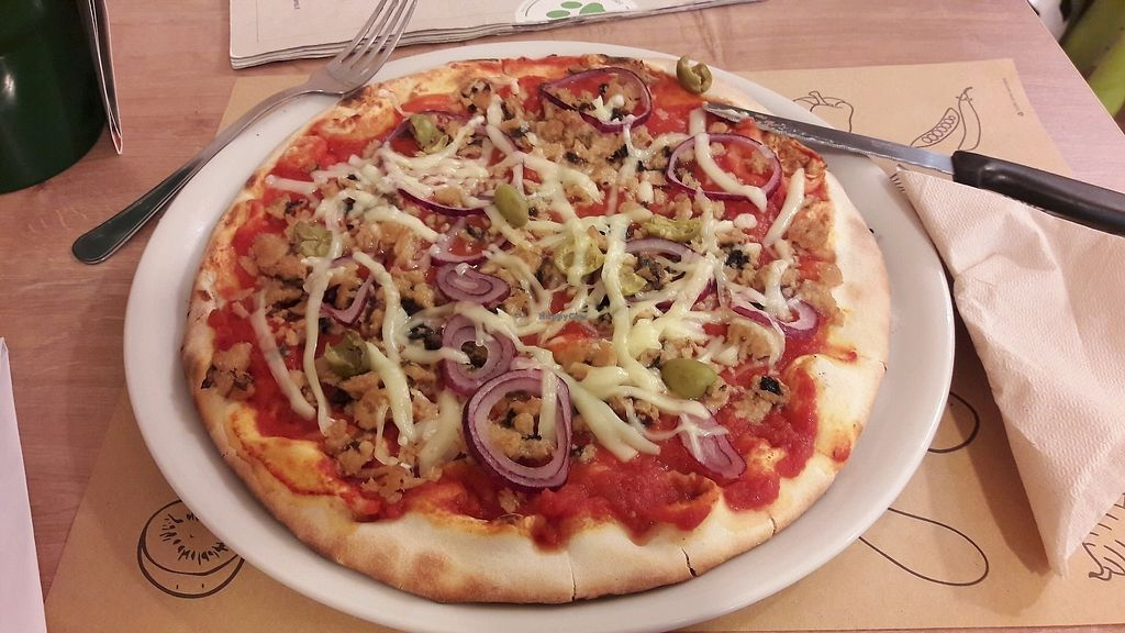 """Photo of Universo Vegano  by <a href=""""/members/profile/Mayalen"""">Mayalen</a> <br/>Pizza mareveg, cipolle e olive <br/> November 5, 2017  - <a href='/contact/abuse/image/47226/322228'>Report</a>"""