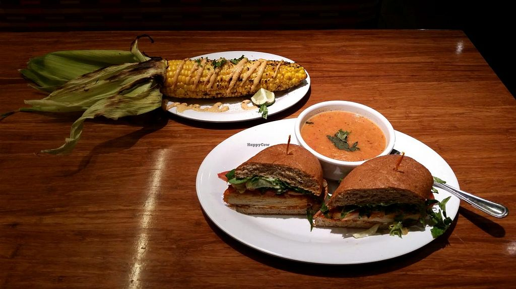"""Photo of Veggie Grill  by <a href=""""/members/profile/MizSharon"""">MizSharon</a> <br/>Buffalo Chicken sandwich and Roasted corn  <br/> July 17, 2015  - <a href='/contact/abuse/image/47261/109694'>Report</a>"""