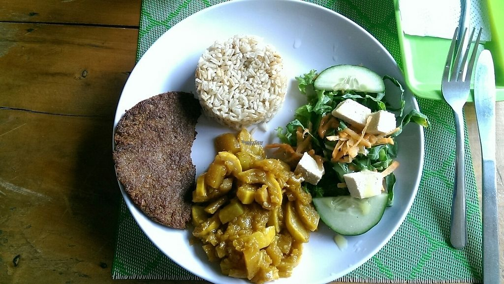 """Photo of Vegan House  by <a href=""""/members/profile/henrydelewi"""">henrydelewi</a> <br/>Main dish, Vegan Menú del día <br/> April 1, 2017  - <a href='/contact/abuse/image/47270/243235'>Report</a>"""
