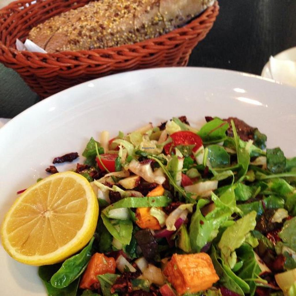 """Photo of Cafe Cafe - Yehuda Maccabee  by <a href=""""/members/profile/Brok%20O.%20Lee"""">Brok O. Lee</a> <br/>Vegan salad with yam cubes and nuts <br/> May 12, 2014  - <a href='/contact/abuse/image/47277/69883'>Report</a>"""