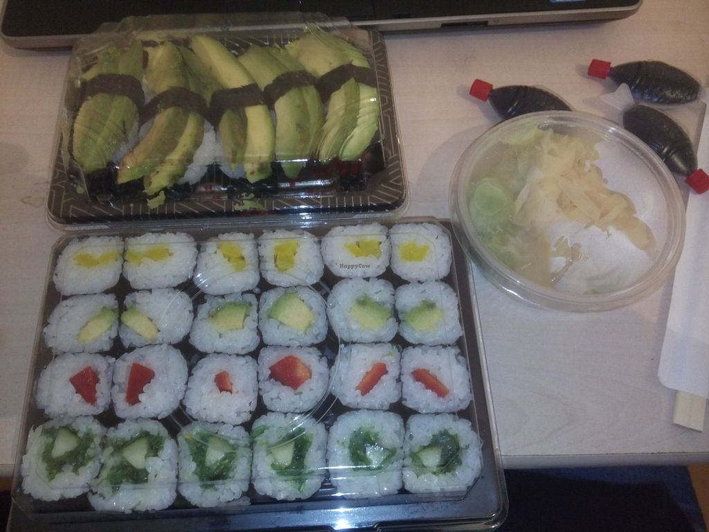 """Photo of Mylicious Sushi  by <a href=""""/members/profile/Toby%20Stockholm"""">Toby Stockholm</a> <br/>Vegan take away sushi rolls and makis <br/> December 13, 2015  - <a href='/contact/abuse/image/47294/128241'>Report</a>"""