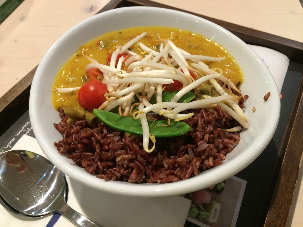 "Photo of My Indigo  by <a href=""/members/profile/Plantpower"">Plantpower</a> <br/>Curry with brown rice at MyIndigo at the Frankfurt central station <br/> September 29, 2015  - <a href='/contact/abuse/image/47313/119574'>Report</a>"