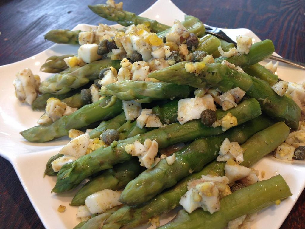 """Photo of El Naturista  by <a href=""""/members/profile/Farsante"""">Farsante</a> <br/>One of the daily freshly made salads, here asparagus with capers and an organic, hard-cooked egg <br/> August 15, 2014  - <a href='/contact/abuse/image/47328/77023'>Report</a>"""