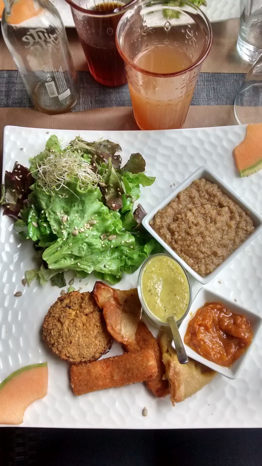 """Photo of L'Heure Bio  by <a href=""""/members/profile/BlisterBlue"""">BlisterBlue</a> <br/>Tofu steaks, vegetable samosas, fonio risotto, zucchini soup and salad <br/> August 15, 2015  - <a href='/contact/abuse/image/47373/113671'>Report</a>"""