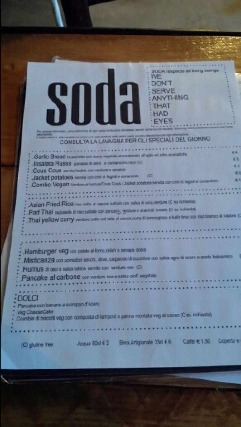 """Photo of Soda  by <a href=""""/members/profile/AndreaPagani"""">AndreaPagani</a> <br/>Un bel menù da provare tutto...io oltre al l'insalata di cavolini di Bruxelles e al combovegan, ho preso l'insalata russa ai semi di cardamomo nero e un cheesecakeveg ai lamponi...ottimi entrambi <br/> April 18, 2016  - <a href='/contact/abuse/image/47394/145097'>Report</a>"""