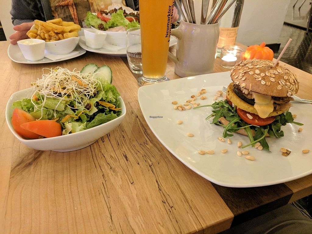 """Photo of Bunte Burger  by <a href=""""/members/profile/mitcharf"""">mitcharf</a> <br/>Italian burger and salad <br/> October 25, 2017  - <a href='/contact/abuse/image/47443/318622'>Report</a>"""