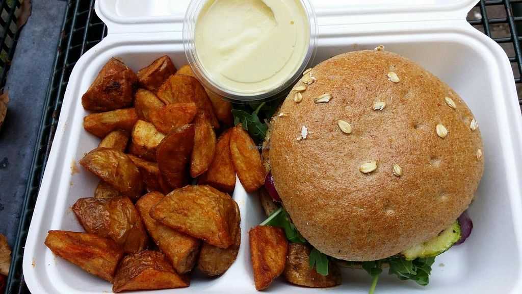"""Photo of Bunte Burger  by <a href=""""/members/profile/Jeane"""">Jeane</a> <br/>Combo Italy burger + potatoes + lemon grass sauce (8.90 eur) <br/> September 18, 2014  - <a href='/contact/abuse/image/47443/80278'>Report</a>"""