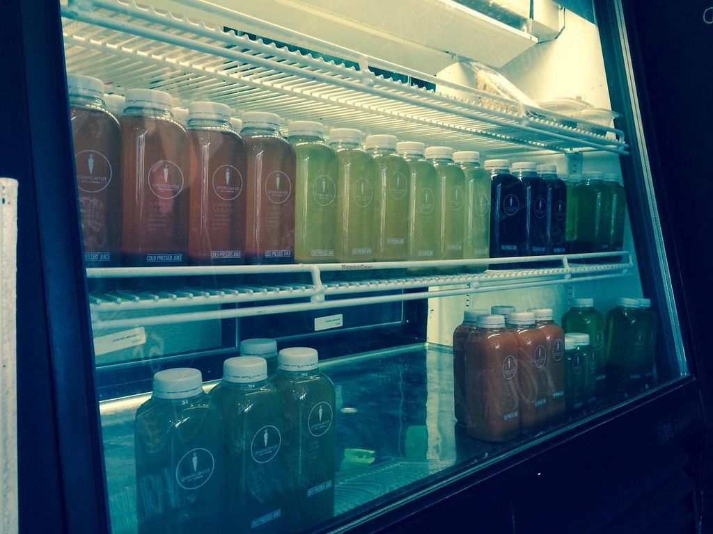 """Photo of Green Carrot Juice Company  by <a href=""""/members/profile/PrairieEarth1"""">PrairieEarth1</a> <br/>Fresh raw cold-pressed juice <br/> May 20, 2014  - <a href='/contact/abuse/image/47489/70383'>Report</a>"""