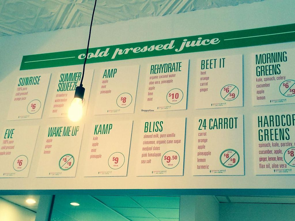 """Photo of Green Carrot Juice Company  by <a href=""""/members/profile/PrairieEarth1"""">PrairieEarth1</a> <br/>Cold-pressed juice menu <br/> May 20, 2014  - <a href='/contact/abuse/image/47489/70393'>Report</a>"""