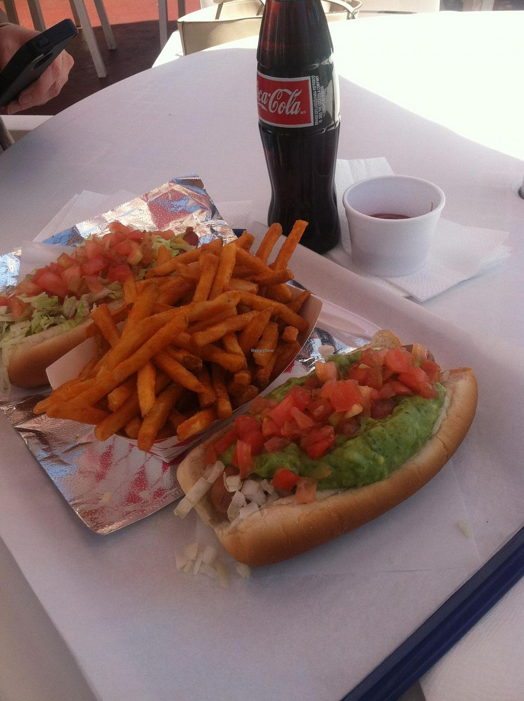 """Photo of Pink's Hot Dogs  by <a href=""""/members/profile/brandalock"""">brandalock</a> <br/>The Patt Morrison Baja Vegan Dog <br/> May 28, 2014  - <a href='/contact/abuse/image/47493/70926'>Report</a>"""