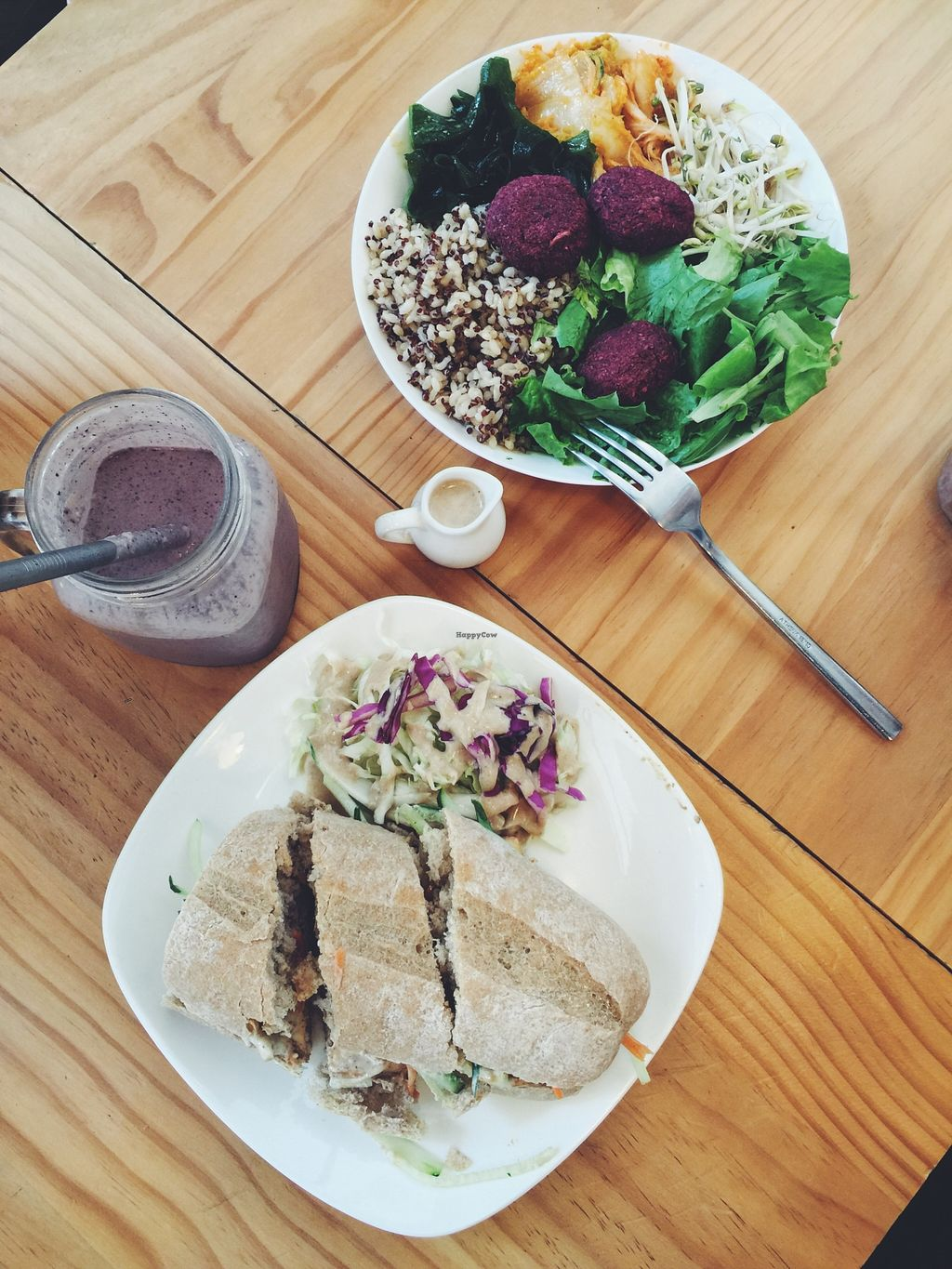 "Photo of Ooh Cha Cha  by <a href=""/members/profile/Thejenwong"">Thejenwong</a> <br/>The Banh mi, beet ball bowl, and the blue goji smoothie  <br/> May 18, 2016  - <a href='/contact/abuse/image/47521/149606'>Report</a>"