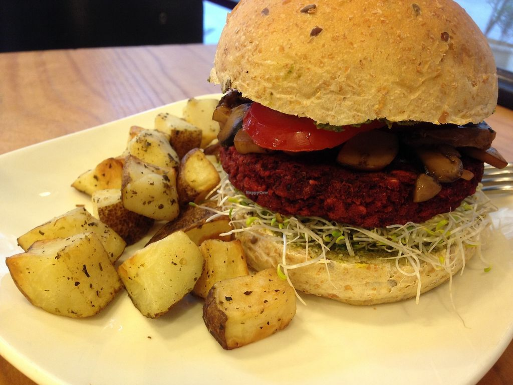 "Photo of Ooh Cha Cha  by <a href=""/members/profile/feedmeplants"">feedmeplants</a> <br/>Pesto mushroom burger with adzuki bean patty. I mean just look at those sad dry home cut fries. Needs more flavor and sauce.  <br/> February 12, 2018  - <a href='/contact/abuse/image/47521/358429'>Report</a>"