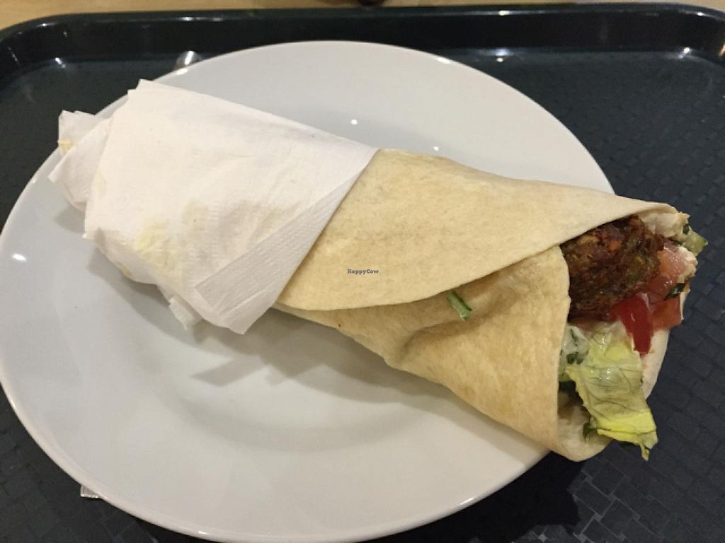 """Photo of The Cheeky Pea  by <a href=""""/members/profile/Jrosworld"""">Jrosworld</a> <br/>A wrap with falafel, hummus, tahini and salad for £5.50 <br/> July 17, 2015  - <a href='/contact/abuse/image/47533/109662'>Report</a>"""