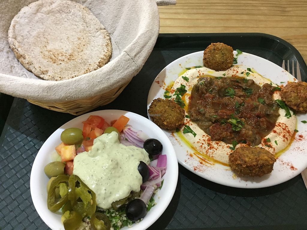 """Photo of The Cheeky Pea  by <a href=""""/members/profile/Jrosworld"""">Jrosworld</a> <br/>Garlic mushroom hummus bowl with extra falafel, £6.95 <br/> August 15, 2017  - <a href='/contact/abuse/image/47533/292995'>Report</a>"""
