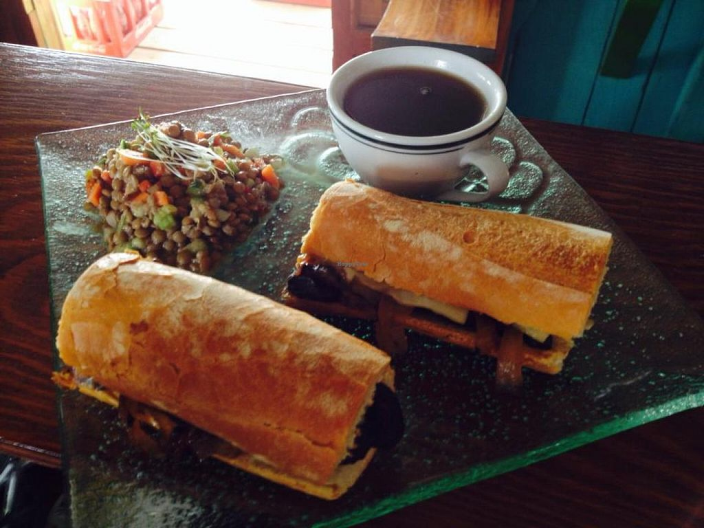 """Photo of Leaf Eaters  by <a href=""""/members/profile/Small3fried"""">Small3fried</a> <br/>French Dip Sandwich made with portabelo mushrooms, grilled onions, swiss cheese and a mushroom au jus  <br/> June 11, 2014  - <a href='/contact/abuse/image/47605/71860'>Report</a>"""