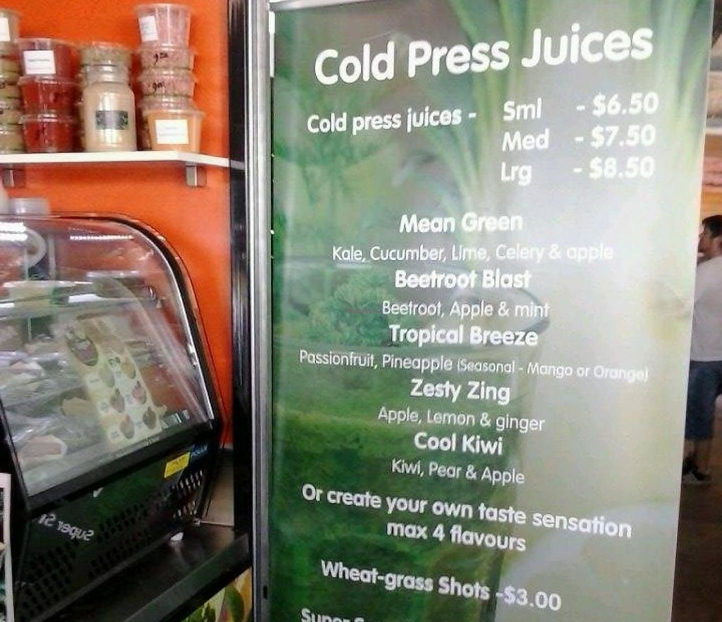 """Photo of D'Lish Love Your Body Wholefoods  by <a href=""""/members/profile/vegan_simon"""">vegan_simon</a> <br/>drinks menu <br/> May 25, 2014  - <a href='/contact/abuse/image/47611/254243'>Report</a>"""