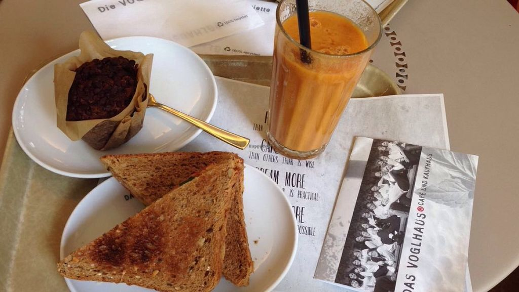 "Photo of Das Voglhaus  by <a href=""/members/profile/veganxsophie"">veganxsophie</a> <br/>Vitaminbooster Smoothie, Chocolate Muffin, Eggplant-Spread Sandwich <br/> July 25, 2016  - <a href='/contact/abuse/image/47684/162110'>Report</a>"
