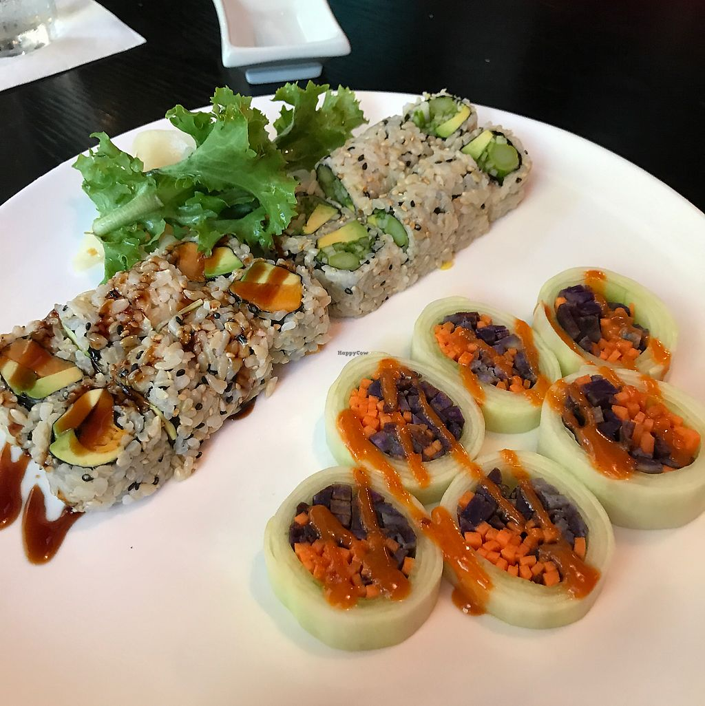 "Photo of Tsunami Sushi  by <a href=""/members/profile/Mattsgirlelle"">Mattsgirlelle</a> <br/>cucumber roll, and 2 different brown rice sushi rolls  <br/> June 17, 2017  - <a href='/contact/abuse/image/47702/270120'>Report</a>"