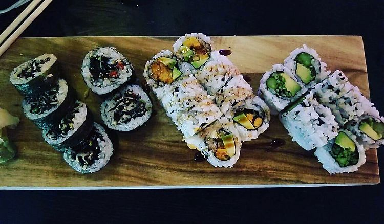 "Photo of Tsunami Sushi  by <a href=""/members/profile/Peevestheturtle"">Peevestheturtle</a> <br/>Left is a carrot and seaweed roll, middle is a sweet potato and avocado roll, right is an avocado, cucumber, and asparagus roll ❤ <br/> June 30, 2017  - <a href='/contact/abuse/image/47702/275187'>Report</a>"