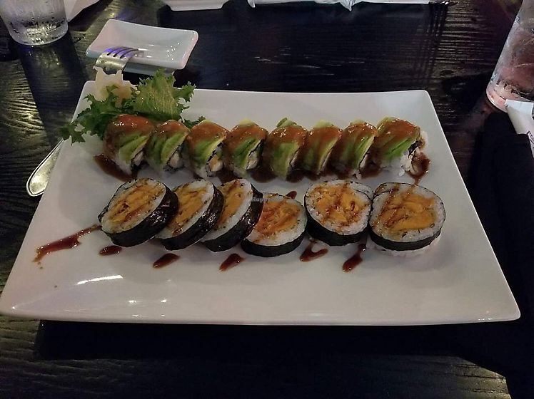 "Photo of Tsunami Sushi  by <a href=""/members/profile/Peevestheturtle"">Peevestheturtle</a> <br/>Bottom is the sweet potato roll, top is the Gandhi roll ❤  <br/> June 30, 2017  - <a href='/contact/abuse/image/47702/275195'>Report</a>"