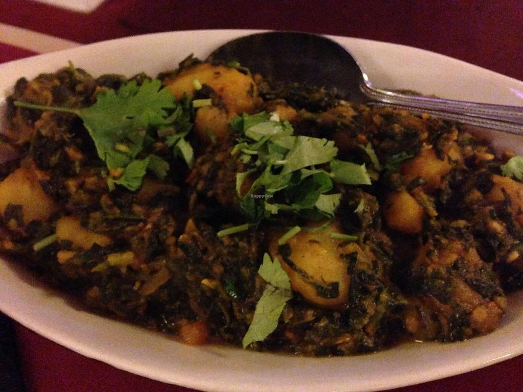 """Photo of Purnima Bangladeshi Cuisine  by <a href=""""/members/profile/calamaestra"""">calamaestra</a> <br/>Potato and spinach dish <br/> September 16, 2014  - <a href='/contact/abuse/image/47724/80064'>Report</a>"""
