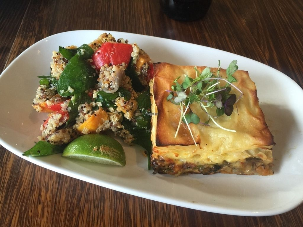 """Photo of Dad and Dave's Cafe  by <a href=""""/members/profile/Tiggy"""">Tiggy</a> <br/>Vegan oven-baked pastry with eggplant and capsicum, with quinoa salad - September 2016 <br/> September 24, 2016  - <a href='/contact/abuse/image/47747/177709'>Report</a>"""