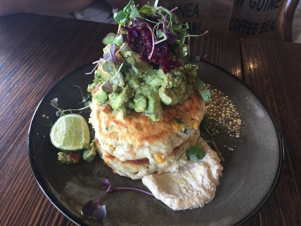 """Photo of Dad and Dave's Cafe  by <a href=""""/members/profile/Tiggy"""">Tiggy</a> <br/>Vegan corn fritters with avocado salsa - September 2016 <br/> September 24, 2016  - <a href='/contact/abuse/image/47747/177710'>Report</a>"""