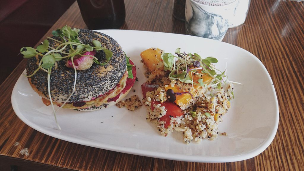 """Photo of Dad and Dave's Cafe  by <a href=""""/members/profile/chocoholicPhilosophe"""">chocoholicPhilosophe</a> <br/>Vegan corn fritter bagel with salad <br/> October 2, 2016  - <a href='/contact/abuse/image/47747/179373'>Report</a>"""