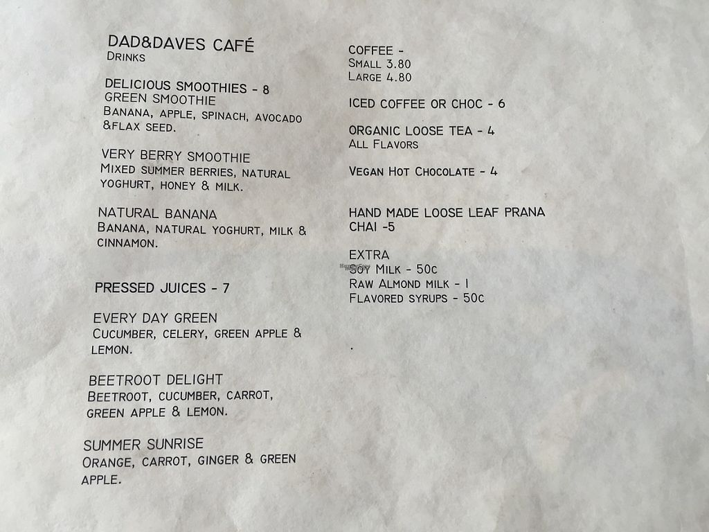 """Photo of Dad and Dave's Cafe  by <a href=""""/members/profile/Tiggy"""">Tiggy</a> <br/>Drinks menu -September 2016 <br/> September 24, 2016  - <a href='/contact/abuse/image/47747/261966'>Report</a>"""