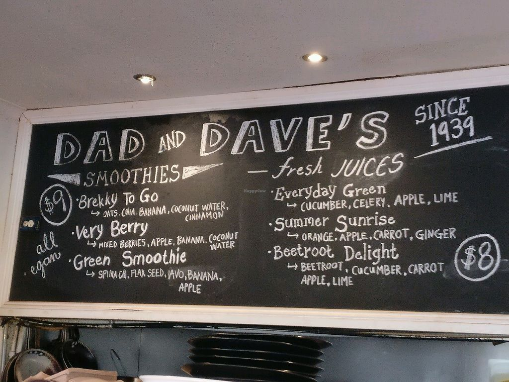 """Photo of Dad and Dave's Cafe  by <a href=""""/members/profile/Aloo"""">Aloo</a> <br/>smoothie menu <br/> March 16, 2018  - <a href='/contact/abuse/image/47747/371546'>Report</a>"""