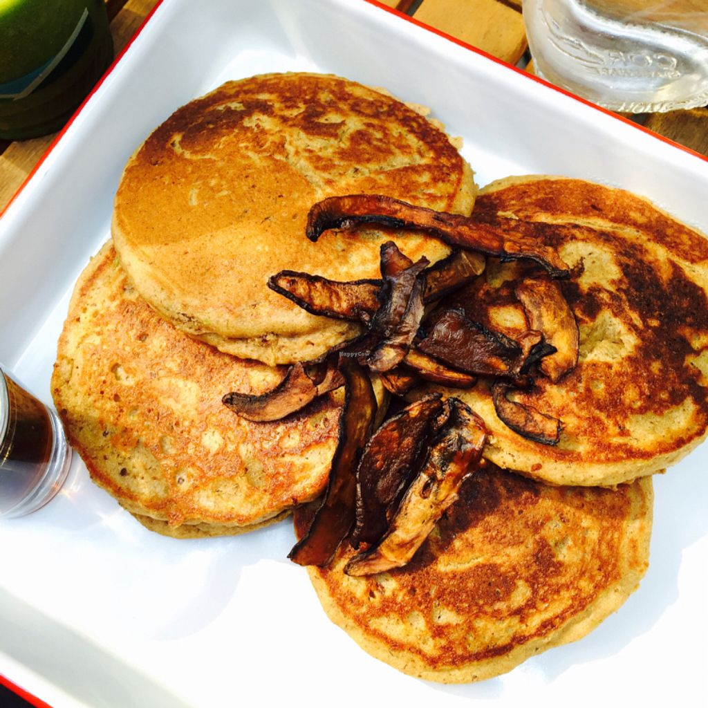 """Photo of P.S. and Co.  by <a href=""""/members/profile/MelHeinrich"""">MelHeinrich</a> <br/>choc chip pancakes with mushroom bacon and maple syrup  <br/> May 29, 2016  - <a href='/contact/abuse/image/47767/151254'>Report</a>"""