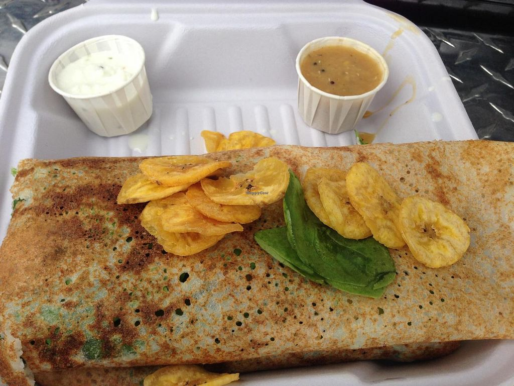 """Photo of CLOSED: Dosa Inc - Food Truck  by <a href=""""/members/profile/gwild"""">gwild</a> <br/>The Californian Dosa with spinach, avocado, walnuts, and goat cheese <br/> July 18, 2014  - <a href='/contact/abuse/image/47773/74311'>Report</a>"""