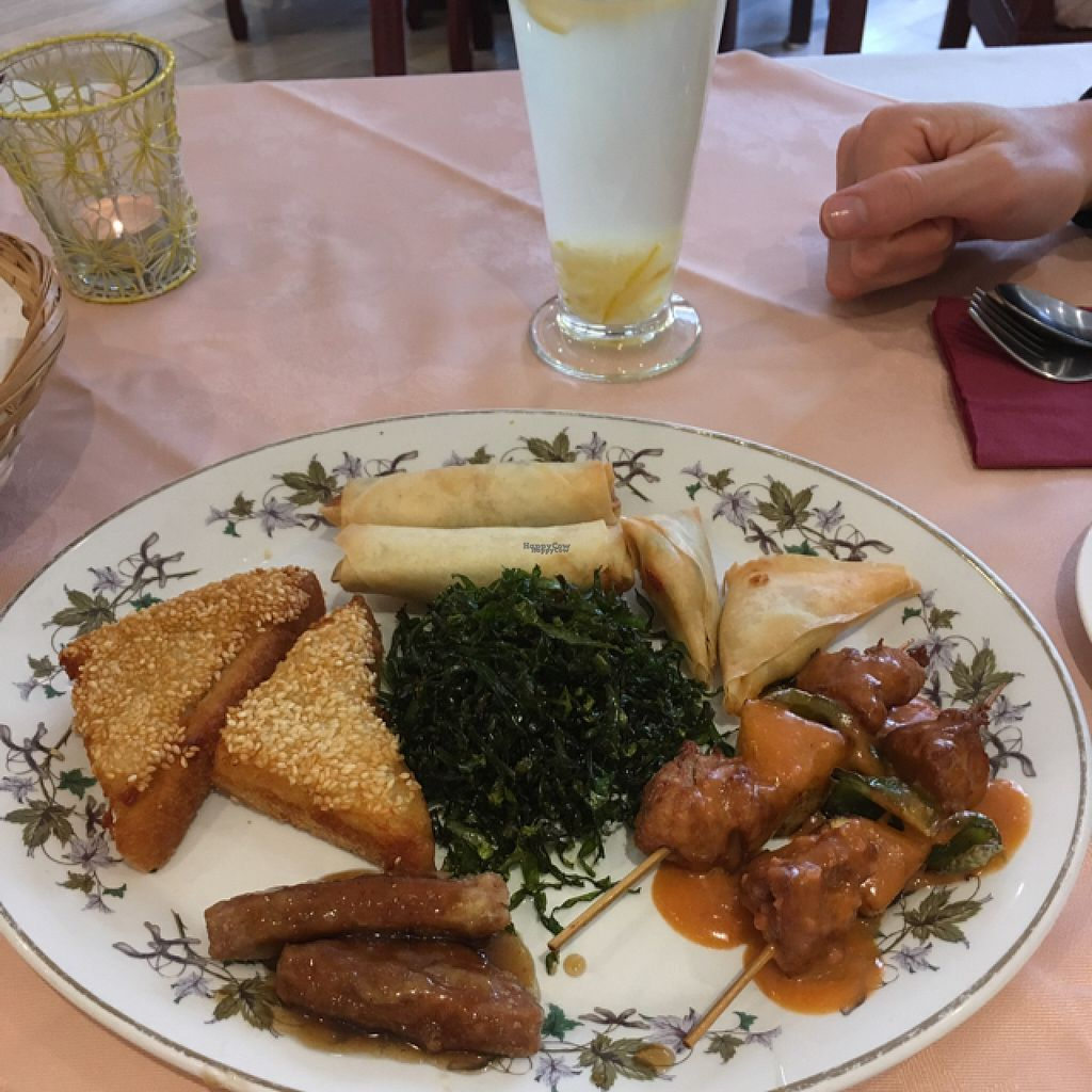 """Photo of Lotus Vegetarian Kitchen  by <a href=""""/members/profile/AshleyWhite"""">AshleyWhite</a> <br/>crispy combo platter and herbal tea <br/> August 5, 2016  - <a href='/contact/abuse/image/47789/165656'>Report</a>"""
