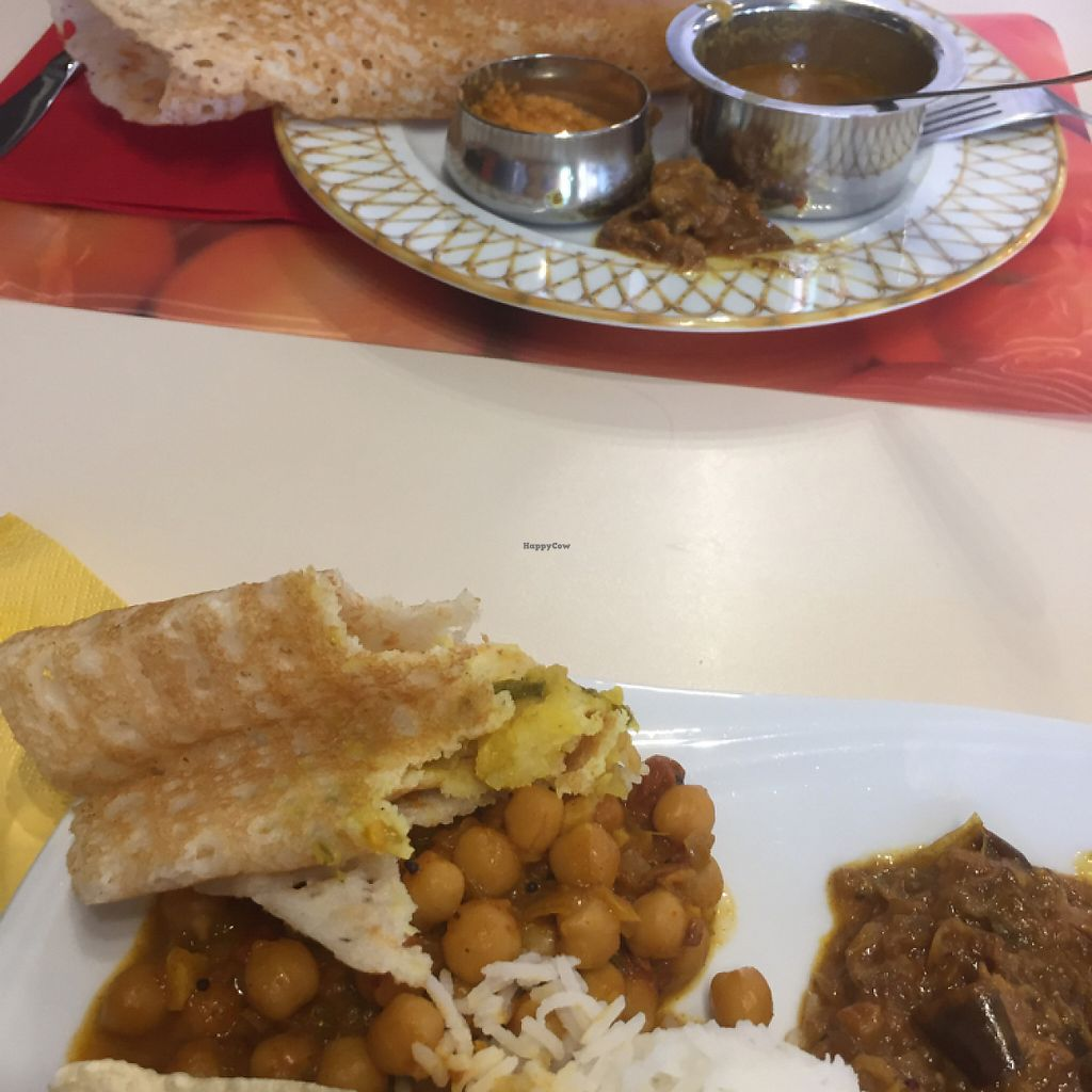 "Photo of Shanthi Indian and Sri Lankan Cuisine  by <a href=""/members/profile/vegannomad2"">vegannomad2</a> <br/>dosa, vegan plate <br/> May 26, 2017  - <a href='/contact/abuse/image/47794/262678'>Report</a>"