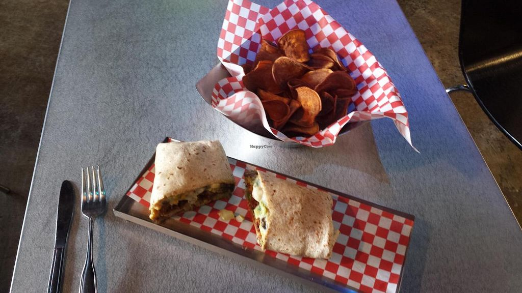 "Photo of CLOSED: Samson's Gourmet Hot Dogs - Food Truck  by <a href=""/members/profile/kosmicfrequency"">kosmicfrequency</a> <br/>whole wheat vegi wrap & sweet potato fries <br/> September 6, 2014  - <a href='/contact/abuse/image/47799/79173'>Report</a>"