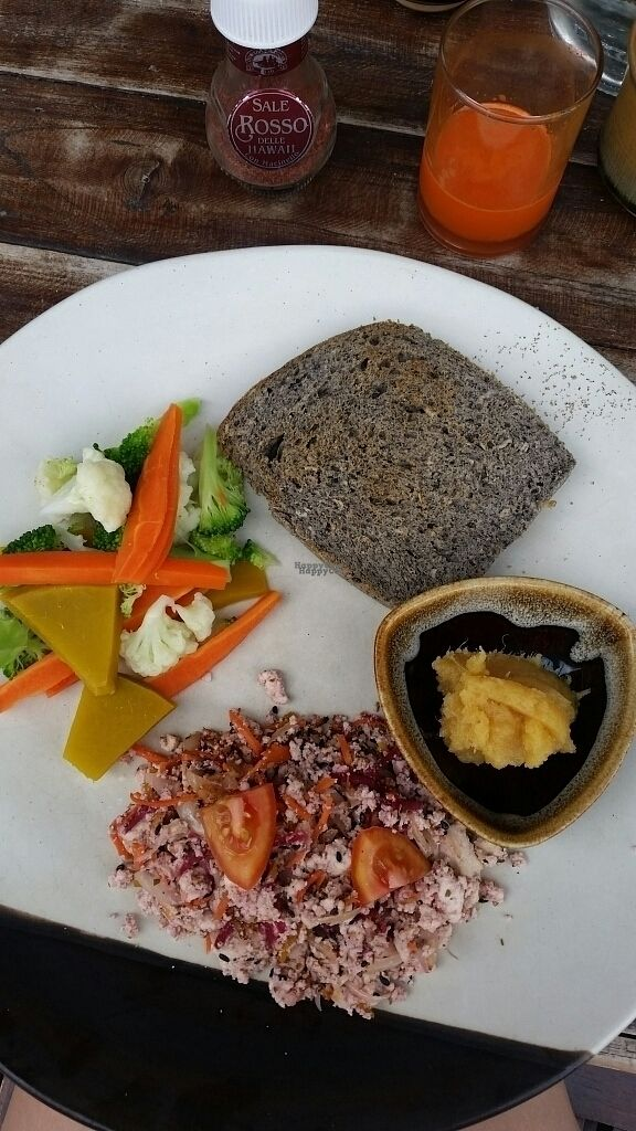 """Photo of June's Art Cafe  by <a href=""""/members/profile/VeganForSnow"""">VeganForSnow</a> <br/>tofu scramble with steamed veg, homemade bread, applesauce, and fresh carrot juice! <br/> October 20, 2016  - <a href='/contact/abuse/image/47805/183199'>Report</a>"""