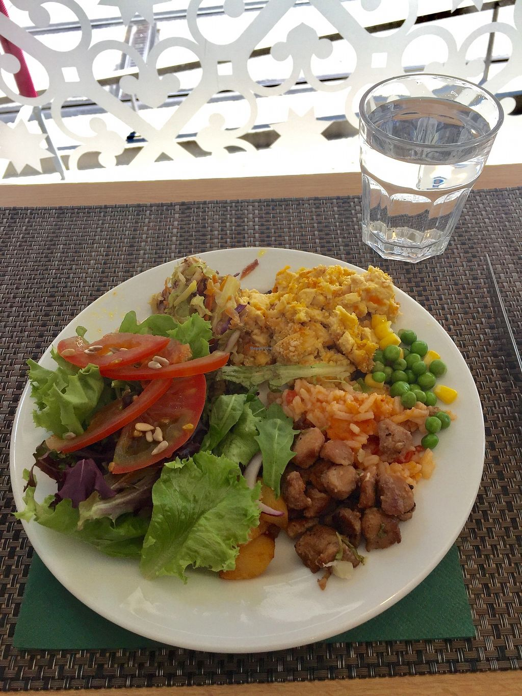"Photo of Cultura Dos Sabores  by <a href=""/members/profile/JennieRDS"">JennieRDS</a> <br/>Spiritual tofu, soya bites, roasted mixed veg, salad, tomato rice, peas and corn <br/> July 7, 2017  - <a href='/contact/abuse/image/47818/277449'>Report</a>"