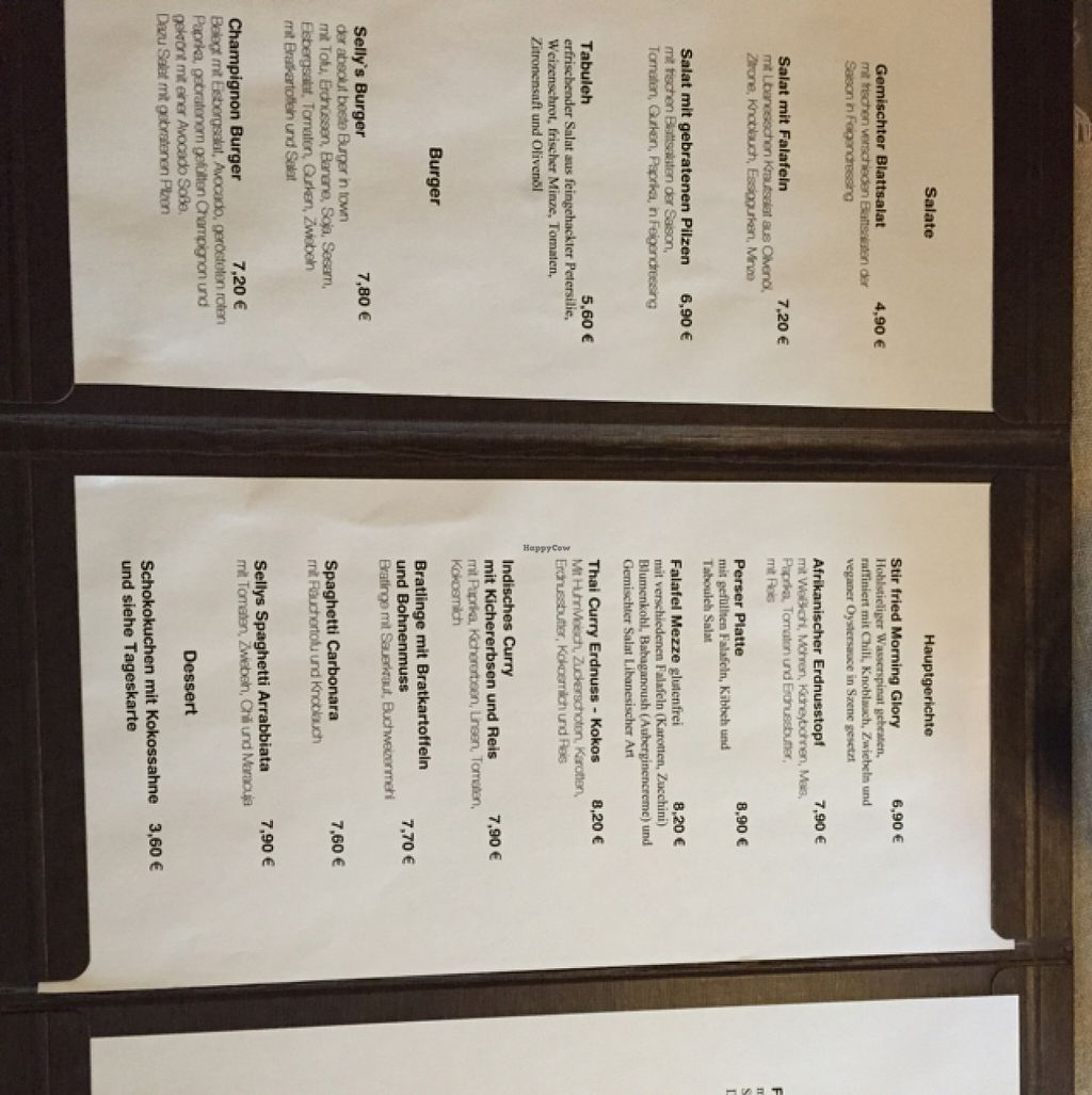 """Photo of CLOSED: Selly's Vegan Bar  by <a href=""""/members/profile/RedbUlrich"""">RedbUlrich</a> <br/>Menu Card (1/2) <br/> August 13, 2015  - <a href='/contact/abuse/image/47834/113502'>Report</a>"""